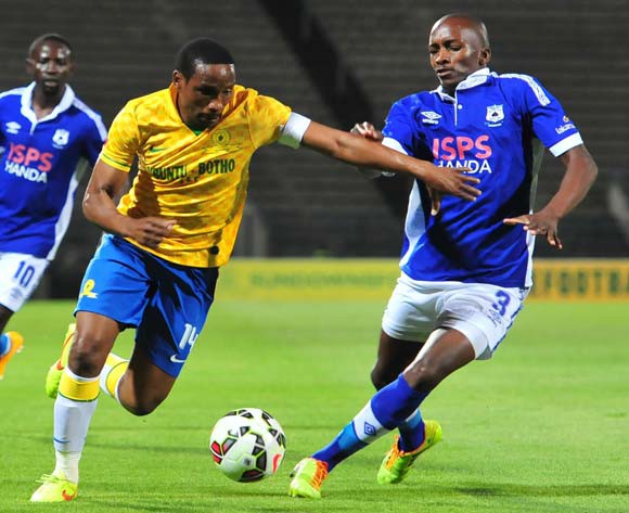 Surprise Moriri of Mamelodi Sundowns battles with Lehlohonolo Nonyane of Black Aces  during the Absa Premiership 2014/15 match between Mamelodi Sundowns and Black Aces at Lucas Moripe Stadium, Attridgeville on the 05 November 2014