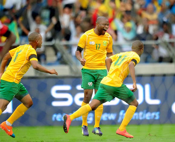 Thulani Serero of South Africa celebrates during the 2014 AFCON Qualifier football match between  South Africa and Sudan at the Moses Mabhida Stadium in Durban , Kwa-Zulu Natal on the 15th of November 2014