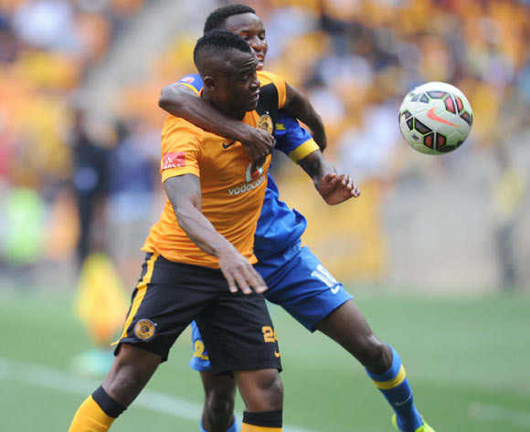 Tsepo Masilela of Kaizer Chiefs tussels with Themba Zwane of Mamelodi Sundowns during the Absa Premiership between Kaizer Chiefs and Mamelodi Sundowns  on the 22 November 2014 at FNB Stadium
