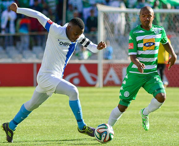 Andile Mbenyane of Chippa United and Lyle Lakay of Bloemfontein Celtic during the Absa Premiership match between Bloemfontein Celtic and Chippa United on 23 November 2014 at   Free State Stadium ©Frikkie Kapp /BackpagePix