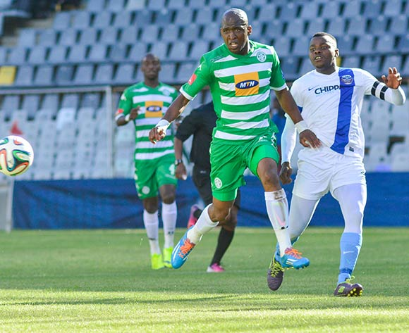 Alfred Ndengane of Bloemfontein Celtic and Andile Mbenyane of Chippa United during the Absa Premiership match between Bloemfontein Celtic and Chippa United on 23 November 2014 at   Free State Stadium ©Frikkie Kapp /BackpagePix