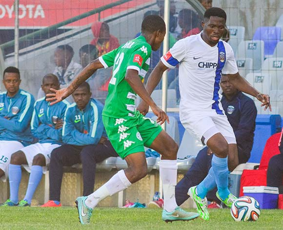 David Zulu of Chippa United and Thapelo Morena of Bloemfontein Celtic during the Absa Premiership match between Bloemfontein Celtic and Chippa United on 23 November 2014 at   Free State Stadium ©Frikkie Kapp /BackpagePix