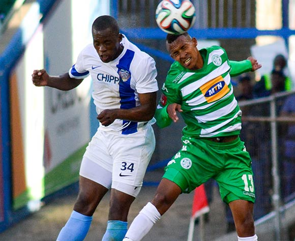 Gert Barends of Chippa United and debutant Gregory Maasdorp of Bloemfontein Celtic during the Absa Premiership match between Bloemfontein Celtic and Chippa United on 23 November 2014 at   Free State Stadium ©Frikkie Kapp /BackpagePix