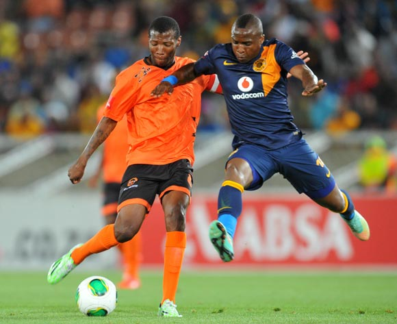 Jabulani Maluleke of Polokwane City challenged by George Maluleka of Kaizer Chiefs during the Absa Premiership 2014/15 football match between Polokwane City and Kaizer Chiefs at the Peter Mokaba Stadium in Limpopo, South Africa on November 25, 2014