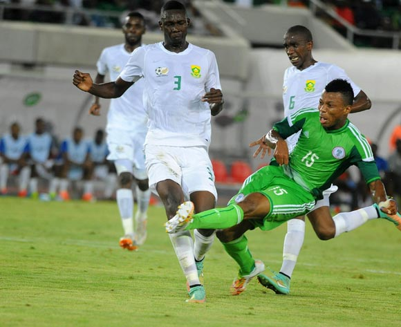 Eagles striker Ikechukwu Uche goes for goal against South Africa in a 2015 AFCON qualifier in Uyo