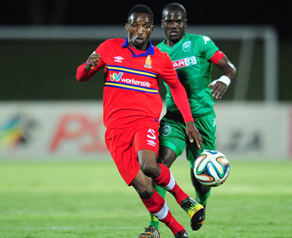 Vuyisile Ntombayithethi of University Pretoria and Goodman Dlamini of AmaZulu during the Absa Premiership 2014/15 football match between AmaZulu and University of Pretoria at the Princess Magogo Stadium in Durban , Kwa-Zulu Natal on the 2nd of December 2014