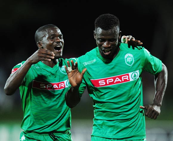 Sedate Ouro Akoriko of AmaZulu celebrates with Goodman Dlamini  after he scored during the Absa Premiership 2014/15 football match between AmaZulu and University of Pretoria at the Princess Magogo Stadium in Durban , Kwa-Zulu Natal on the 2nd of December 2014