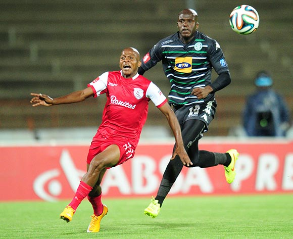 Richard Henyekane of Free State Stars battles Musa Bilankulu of Bloemfontein Celtic during the Absa Premiership 2014/15 football match between Free State Stars and Bloemfontein Celtic at the Charles Mopeli Stadium in Qwa-Qwa , Free State Province on the 3rd of December 2014  ©Sabelo Mngoma/BackpagePix