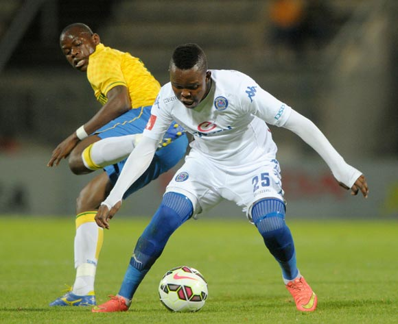 Lerato Manzine of Supersport United battles with Hlompho Kekana of Mamelodi Sundowns during the Absa Premiership 2014/15 match between Mamelodi Sundowns and Supersport United at Lucas Moripe Stadium, Attridgeville on the 03 December 2014