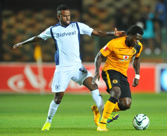 Kingston Nkhatha of Kaizer Chiefs challenged by Jabulani Shongwe of Bidvest Wits during the Absa Premiership 2014/15 football match between Bidvest Wits and Kaizer Chiefs at the Bidvest Stadium in Johannesburg, South Africa on December 03, 2014