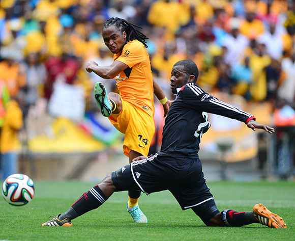 Siphiwe Tshabalala of Kaizer Chiefs and Rooi Mahamutsa of Orlando Pirates  during the Absa Premiership Football match between Orlando Pirates and Kaizer Chiefs at Soccer City in Johannesburg, South Africa on December 6, 2014 ©Barry Aldworth/BackpagePix