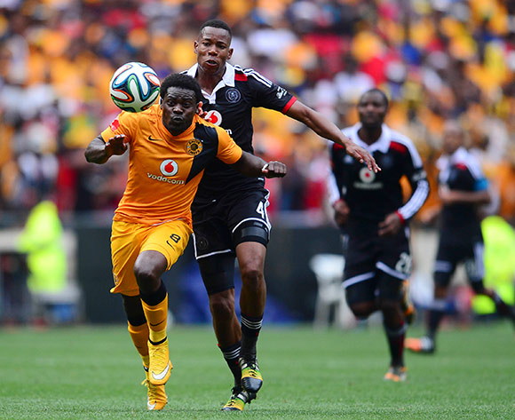 Kingston Nkhatha of Kaizer Chiefs and Happy Jele of Orlando Pirates during the Absa Premiership Football match between Orlando Pirates and Kaizer Chiefs at Soccer City in Johannesburg, South Africa on December 6, 2014 ©Barry Aldworth/BackpagePix