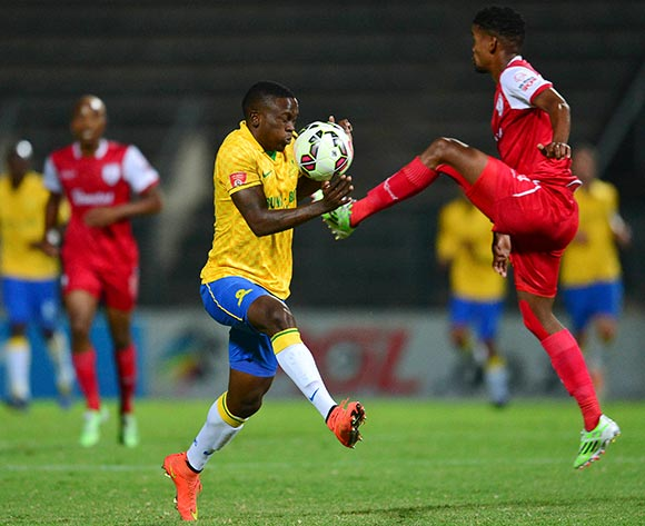 Bokang Tlhone of Free State Stars and Luyolo Nomandela of Mamelodi Sundowns during the Absa Premiership Football match between Mamelodi Sundowns and Free State Stars at Lucas Moripe Stadium in Pretoria, South Africa on December 6, 2014 ©Barry Aldworth/BackpagePix