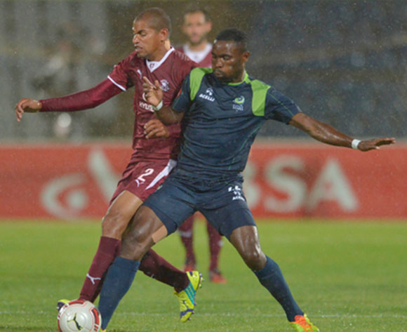 Rudi Isaacs of Moroka Swallows and Robert Ng'ambi of Platinum Stars vie for the ball. during the Absa Premiership Football match between Moroka Swallows and Platinum Stars at Dobsonville Stadium  in Soweto , South Africa on December 6, 2014 ©Irwin Hackner/BackpagePix