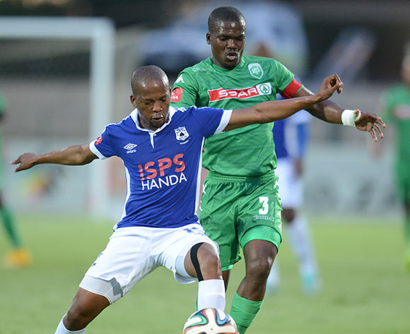 Goodman Dlamini of AmaZulu battling Aubrey Ngoma of Black Aces during the Absa Premiership 2014/15 football match between AmaZulu and Mpumalanga Black Aces at the Princess Magogo Stadium in Durban , Kwa-Zulu Natal on the 6th of December 2014  ©Sabelo Mngoma/BackpagePix