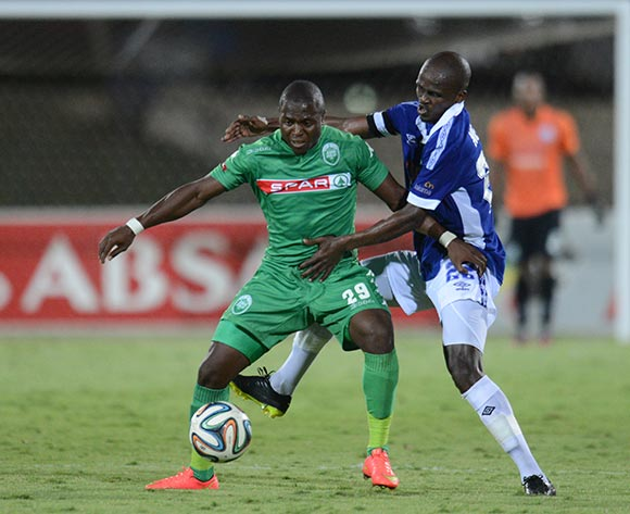 Zamuxolo Ngalo of Black Aces battles Goodman Dlamini of AmaZulu during the Absa Premiership 2014/15 football match between AmaZulu and Mpumalanga Black Aces at the Princess Magogo Stadium in Durban , Kwa-Zulu Natal on the 6th of December 2014  ©Sabelo Mngoma/BackpagePix