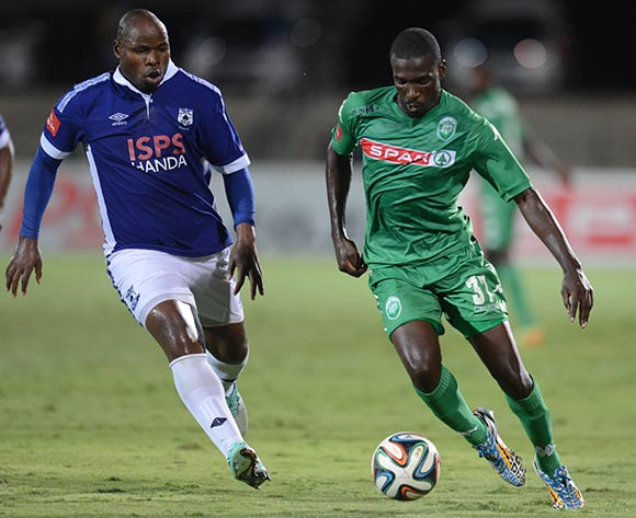 Willem Mwedihanga of AmaZulu and Collins Mbesuma of Black Aces during the Absa Premiership 2014/15 football match between AmaZulu and Mpumalanga Black Aces at the Princess Magogo Stadium in Durban , Kwa-Zulu Natal on the 6th of December 2014  ©Sabelo Mngoma/BackpagePix