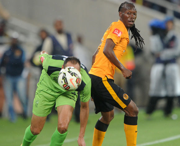 Reneilwe Letsholonyane of Kaizer Chiefs battles with Eleazer Rodgers of Platinum Stars during the Absa Premiership 2014/15 match between Kaizer Chiefs and Platinum Stars at Peter Mokaba Stadium, Polokwane on the 09 December 2014