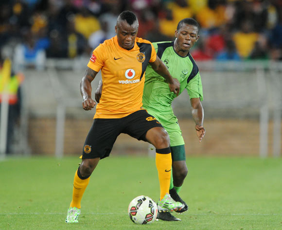Tsepo Masilela of Kaizer Chiefs challenged by Ndumiso Mabena of Platinum Stars during the Absa Premiership 2014/15 match between Kaizer Chiefs and Platinum Stars at Peter Mokaba Stadium, Polokwane on the 09 December 2014