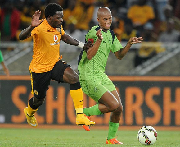 Tshepo Gumede of Platinum Stars battles with Kingston Nkhatha of Kaizer Chiefs during the Absa Premiership 2014/15 match between Kaizer Chiefs and Platinum Stars at Peter Mokaba Stadium, Polokwane on the 09 December 2014  ©Muzi Ntombela/BackpagePix