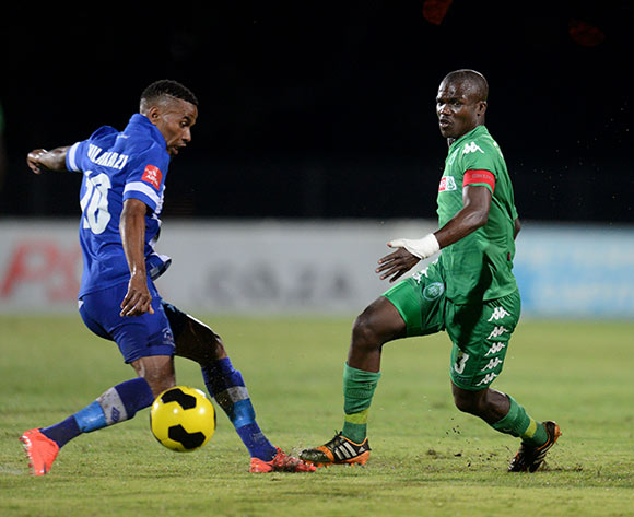 Nhlanhla Vilakazi of Maritzburg United and Goodman Dlamini of AmaZulu during the Absa Premiership 2014/15 football match between Maritzburg United and AmaZulu at the Harry Gwala Stadium in Pietermaritzburg , Kwa-Zulu Natal on the 10th of December 2014  ©Sabelo Mngoma/BackpagePix