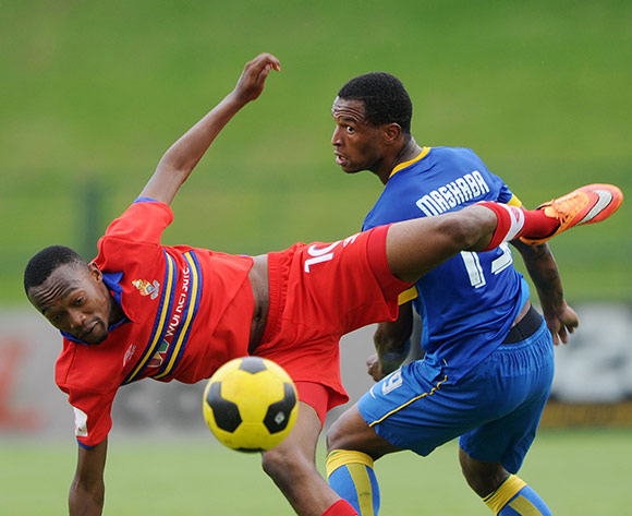 Thabo Mnyamane of University Pretoria fouled by Mzikayise Mashaba of Mamelodi Sundowns during the Absa Premiership 2014/15 match between University of Pretoria and Mamelodi Sundowns at Tuks Stadium, Pretoria on the 13 December 2014  ©Muzi Ntombela/BackpagePix