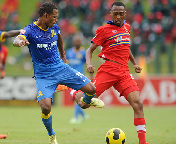 Mzikayise Mashaba of Mamelodi Sundowns challenged by Thabo Mnyamane of University Pretoria during the Absa Premiership 2014/15 match between University of Pretoria and Mamelodi Sundowns at Tuks Stadium, Pretoria on the 13 December 2014  ©Muzi Ntombela/BackpagePix