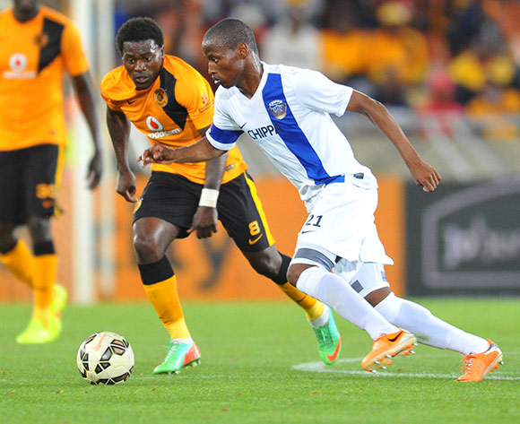 Thamsanqa Sangweni of Chippa United challenged by Kingston Nkhatha of Kaizer Chiefs during the Absa Premiership 2014/15 football match between Kaizer Chiefs and Chippa United at the Peter Mokaba Stadium in Polokwane, South Africa on December 13, 2014 ©Samuel Shivambu/BackpagePix