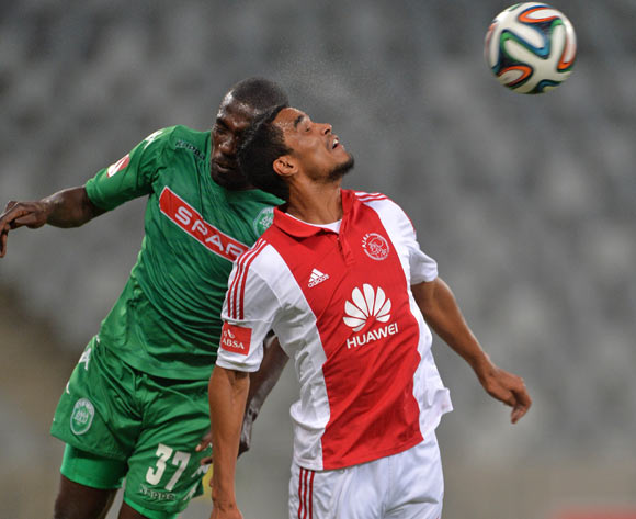 Willem Mwedihanga of AmaZulu clashes heads with Tasriq Morris of Ajax Cape Town during the Absa Premiership 2014/15 football match between Ajax Cape Town and AmaZulu at Cape Town Stadium, Cape Town on 16 December 2014