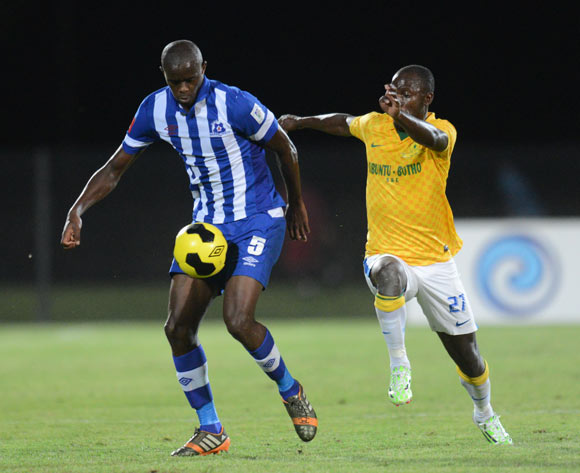 Kwanda Mngonyama of Maritzburg United and Cuthbert Malajila of Mamelodi Sundowns during the Absa Premiership 2014/15 football match between Maritzburg United and Mamelodi Sundows at the Harry Gwala Stadium in Pietermaritzburg , Kwa-Zulu Natal on the 16th of December 2014