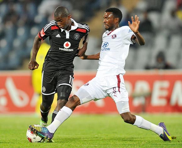 Sifiso Myeni of Orlando Pirates challenged by Lucky Baloyi of Moroka Swallows during the Absa Premiership 2014/15 football match between Moroka Swallows and Orlando Pirates at the Dobsonville Stadium in Johannesburg, South Africa on December 17, 2014 ©Samuel Shivambu/BackpagePix