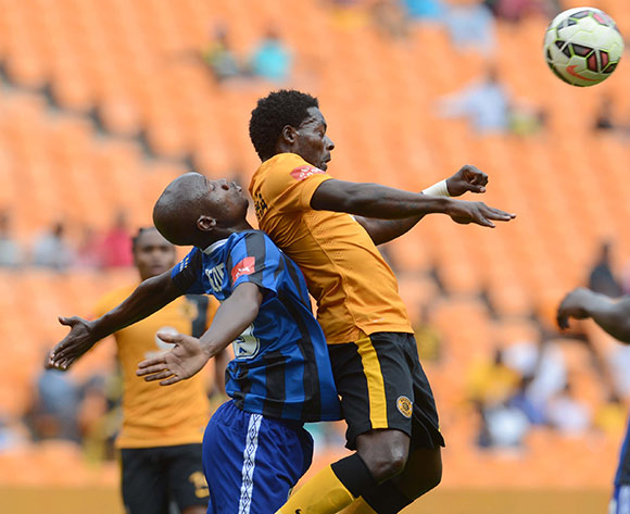 Kingston Nkhatha of Kaizer Chiefs battles with Siboniso Gumede of Black Aces during the Absa Premiership match between Kaizer Chiefs and Black Aces on the 20 December 2014 at FNB Stadium Pic Sydney Mahlangu/BackpagePix