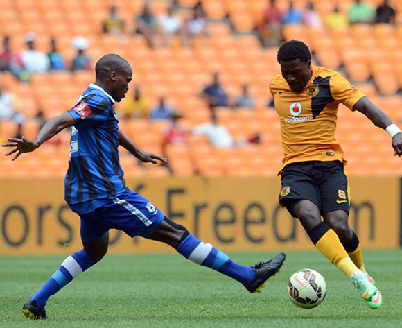 Kingston Nkhatha of Kaizer Chiefs battles with Zamuxolo Ngalo of Black Aces during the Absa Premiership match between Kaizer Chiefs and Black Aces on the 20 December 2014 at FNB Stadium Pic Sydney Mahlangu/BackpagePix