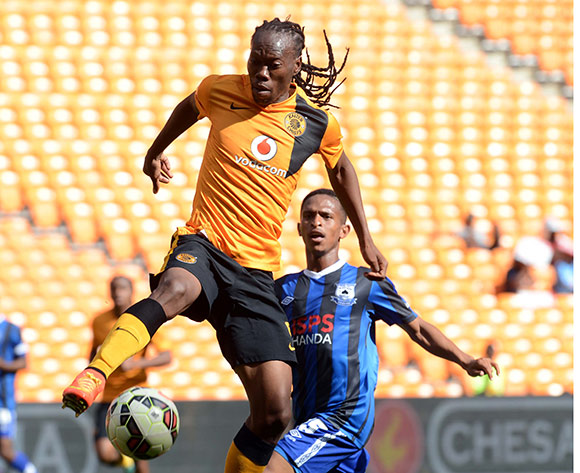 Reneilwe Letsholonyane of Kaizer Chiefs battles with Tshidiso Tukane of Black Aces during the Absa Premiership match between Kaizer Chiefs and Black Aces on the 20 December 2014 at FNB Stadium Pic Sydney Mahlangu/BackpagePix