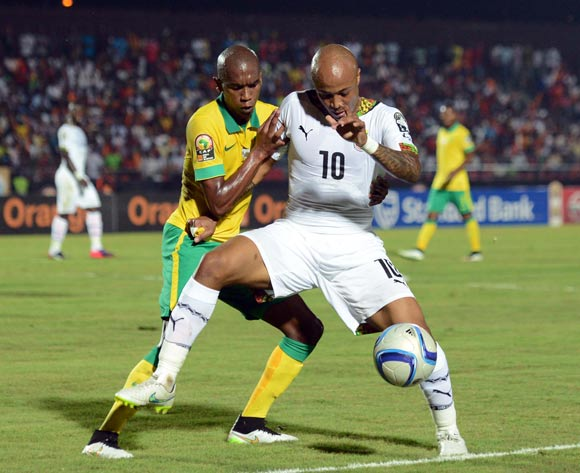 Anele Ngcongca of South Africa battles with Andre Ayew of Ghana during of the 2015 Africa Cup of Nations match between South Africa and Ghana at Mongomo Stadium, Equatorial Guinea on 27 January 2015