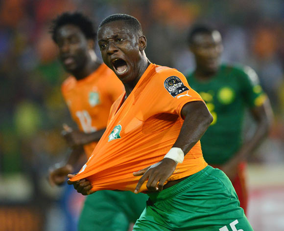 Max Gradel of Ivory Coast celebrates goal during the 2015 Africa Cup of Nations football match between Cameroon and Ivory Coast at Malabo Stadium, Malabo, Equatorial Guinea on 28 January 2015