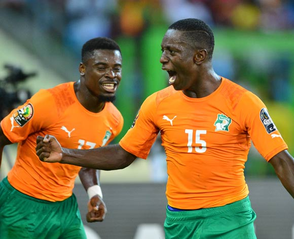 Max Gradel of Ivory Coast celebrates goal, teammate Serge Aurier looks on  during the 2015 Africa Cup of Nations football match between Cameroon and Ivory Coast at Malabo Stadium, Malabo, Equatorial Guinea on 28 January 2015