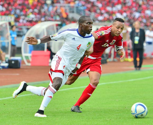 Emilio Nsue of Equatorial Guinea and Boris Moubio Ngounga of Congo during the 2015 Africa Cup of Nations football match between Equatorial Guinea and Congo at Bata Stadium in Bata, Equatorial Guinea on 17 January 2015