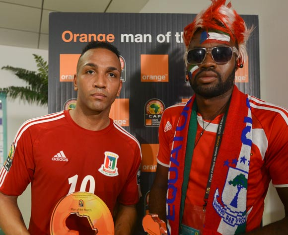 Emilio Nsue of Equatorial Guinea is Orange Man of the Match during the 2015 Africa Cup of Nations opening ceremony at Bata Stadium in Bata, Equatorial Guinea on 17 January 2015