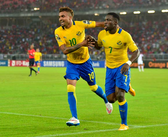 Frederic Bulot of Gabon (L) and Malick Evouna of Gabon (R) celebrate after Evouna during the 2015 Africa Cup of Nations football match between Burkina Faso v Gabon at Bata Stadium in Bata, Equatorial Guinea on 17 January 2015