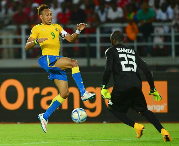 Pierre Aubameyang of Gabon (L) and Moussa Germain Sanou of Burkina Faso (R) during the 2015 Africa Cup of Nations football match between Burkina Faso v Gabon at Bata Stadium in Bata, Equatorial Guinea on 17 January 2015