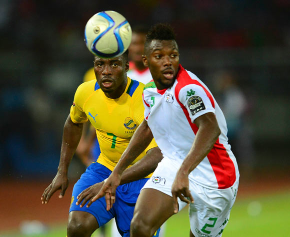 Steeve Yago of Burkina Faso and Malick Evouna of Gabon during the 2015 Africa Cup of Nations football match between Burkina Faso v Gabon at Bata Stadium in Bata, Equatorial Guinea on 17 January 2015