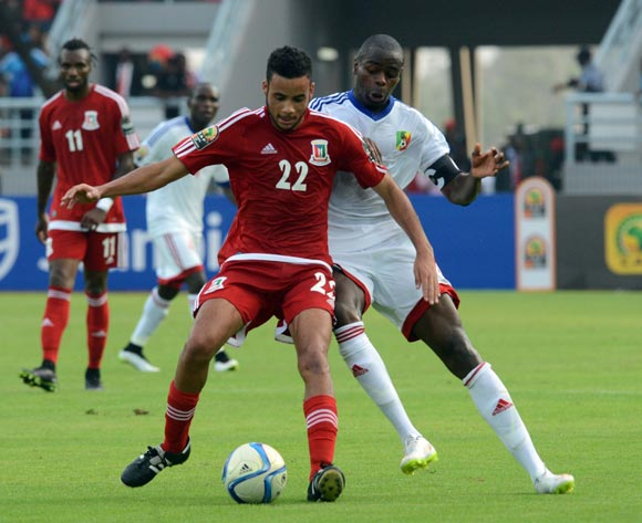 Pablo Ganet Comitre of Equatorial Guinea battles with Prince Oniangue of Congo during of the 2015 Africa Cup of Nations match between Equatorial Guinea and Congo at Bata Stadium, Equatorial Guinea on 17 January 2015