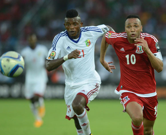 Sagesse Babele of Congo battles with Emilio Nsue of Equatorial Guinea  during of the 2015 Africa Cup of Nations match between Equatorial Guinea and Congo at Bata Stadium, Equatorial Guinea on 17 January 2015