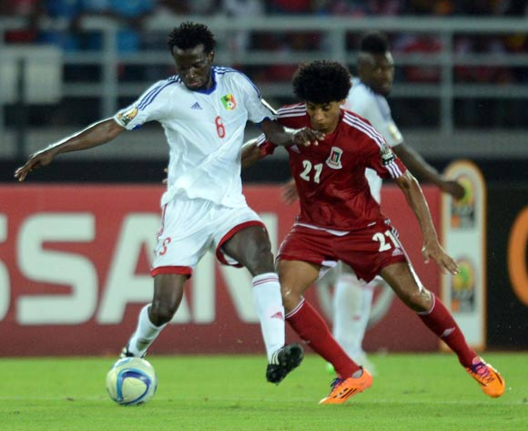 Dimitri Davy Bissiki of Congo  battles with Ivan Zarandona Esono of Equatorial Guinea  during of the 2015 Africa Cup of Nations match between Equatorial Guinea and Congo at Bata Stadium, Equatorial Guinea on 17 January 2015