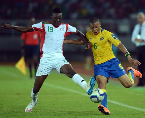 Bertrand Traore of Burkina Faso battles with Johann Obiang of Gabon   during of the 2015 Africa Cup of Nations match between Burkina Faso and Gabon at Bata Stadium, Equatorial Guinea on 17 January 2015