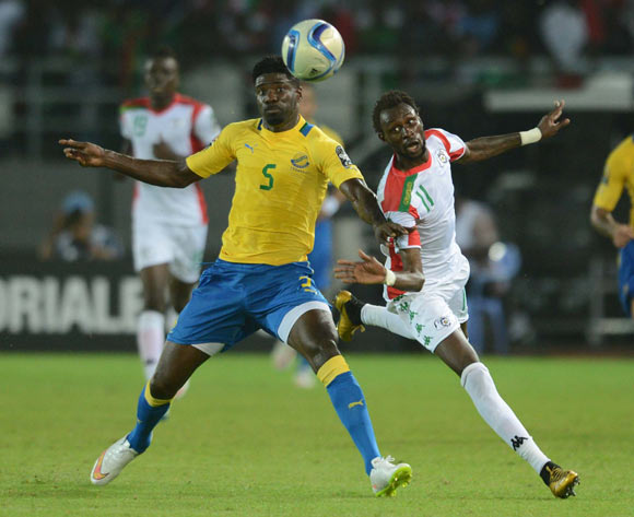 Bruno Ecuele Manga of Gabon  battles with Jonathan Pitroipa of Burkina Faso  during of the 2015 Africa Cup of Nations match between Burkina Faso and Gabon at Bata Stadium, Equatorial Guinea on 17 January 2015