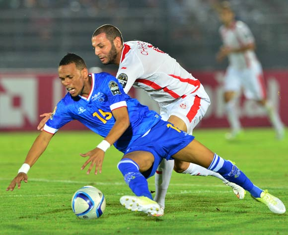 Nuno Rocha of Cape Verde fouled by Yassine Chikhaoui of Tunisia during the 2015 Africa Cup of Nations football match between Tunisia and Cape Verde  at the Ebibeyin Stadium, Ebibeyin, Equatorial Guinea on 18 January 2015