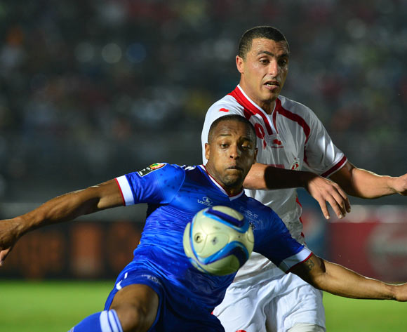 Carlos Tavares Carlitos of Cape Verde clears from Ahmed Akaichi of Tunisia  during the 2015 Africa Cup of Nations football match between Tunisia and Cape Verde  at the Ebibeyin Stadium, Ebibeyin, Equatorial Guinea on 18 January 2015
