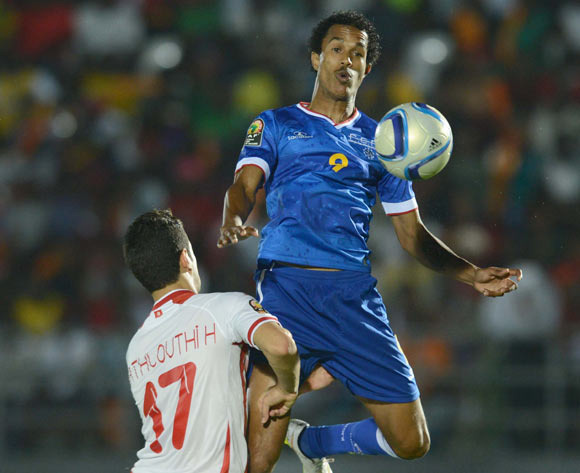 Railton Miranda of Cape Verde battles with Hamza Mathlouthi of Tunisia   during of the 2015 Africa Cup of Nations match between Tunisia and Cape Verde at Ebibeyin Stadium, Equatorial Guinea on 18 January 2015